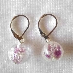 Jewelry - Rose pink + clear art glass ball drop earrings